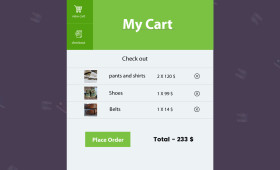 Flat My Cart Widget PSD