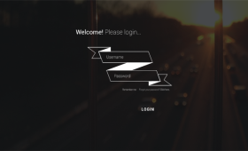 Stylish Flat Ribbon Login Form PSD