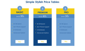 Simple Stylish Pricing Tables PSD