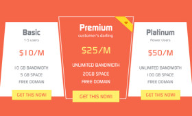Plans and Pricing Tables PSD