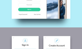 Flat Sign up and Login Forms PSD