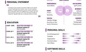 Free Curriculum Vitae Personal Design Template Free PSD