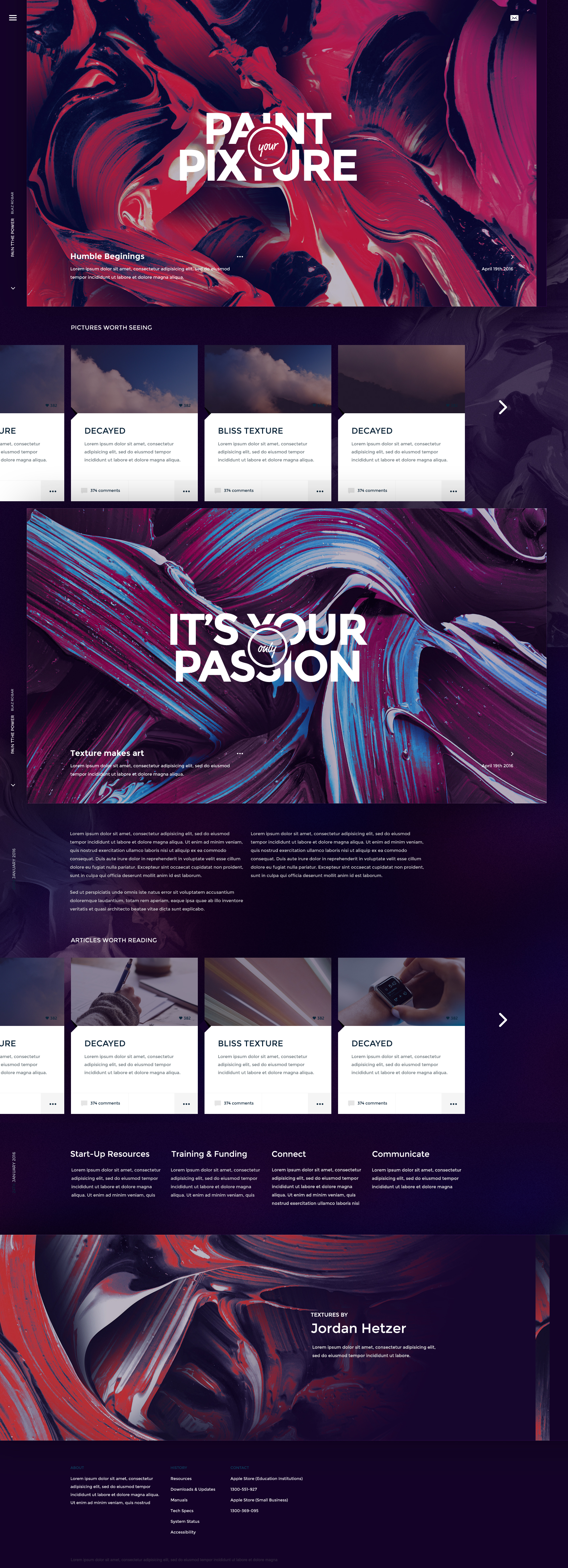 Pixture Free Canvas Photoshop Website Template PSD