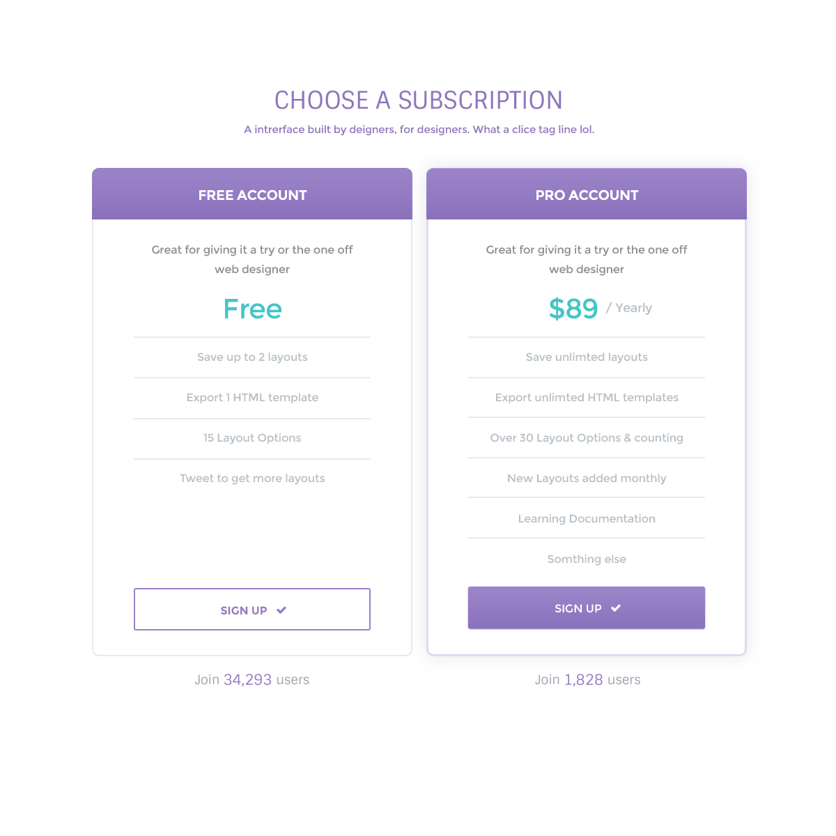 FREE Clean Pricing Table Web Element Template Photoshop PSD