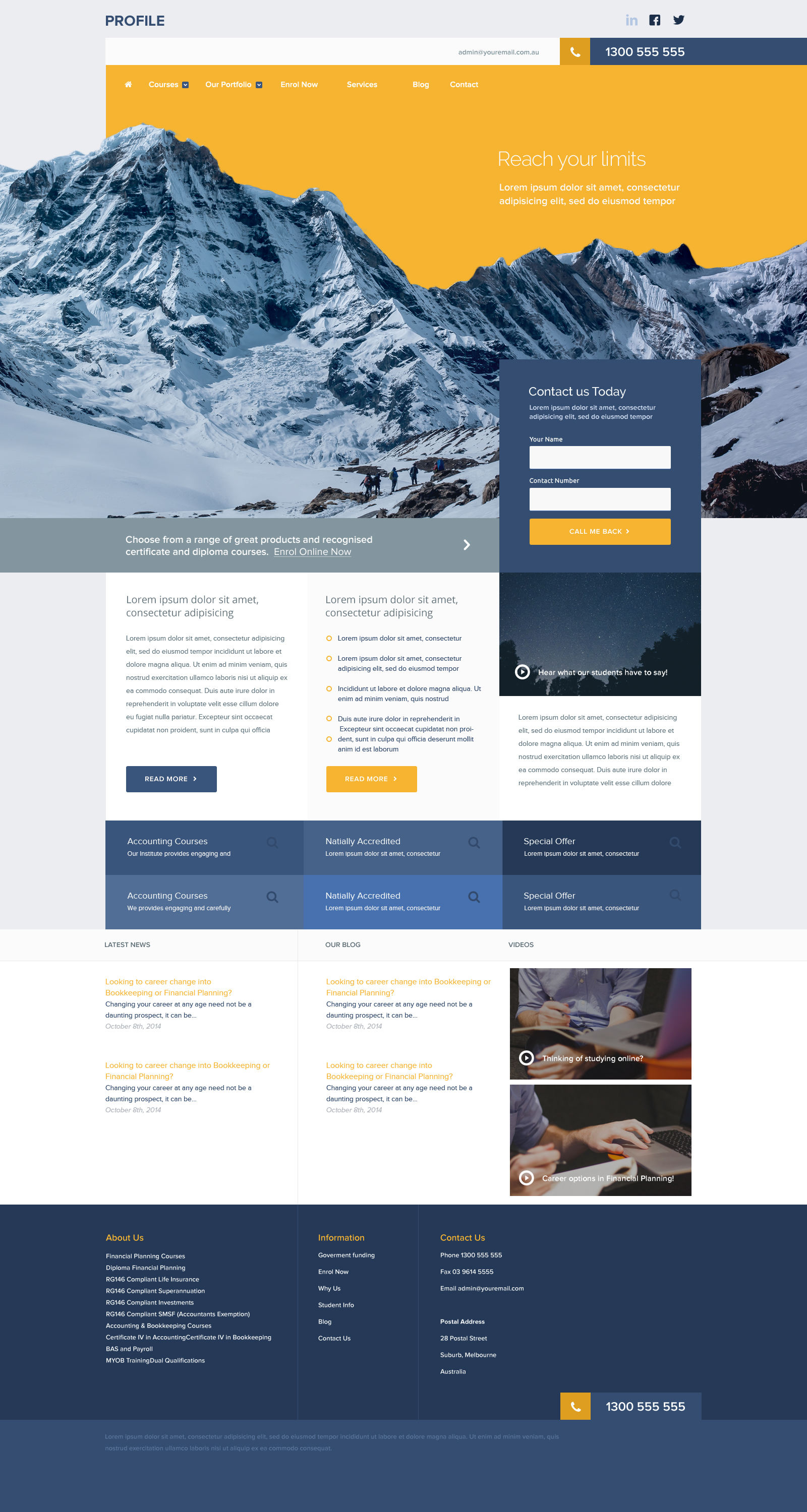 FREE Profile Portfolio Website Template Photoshop PSD