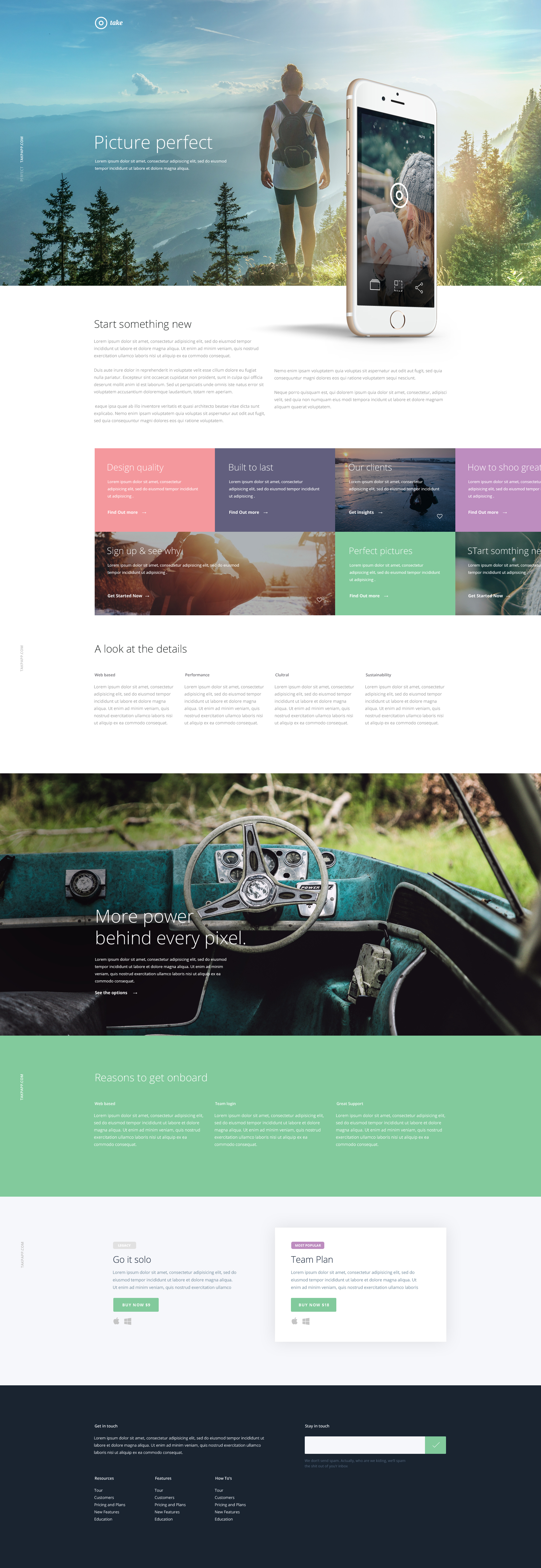 Take FREE Mobile App Landing Page Bootstrap PSD Grid Template